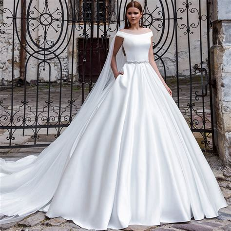 Fashion Simple Dress A31053 aliexpress buy fashion simple white wedding dress with 2016 boat neck gown