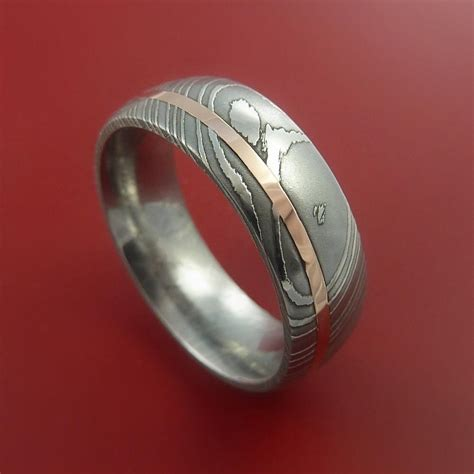 damascus steel 14k gold ring wedding band custom made