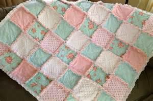 shabby chic rose and white polka dots aqua blue rag quilt