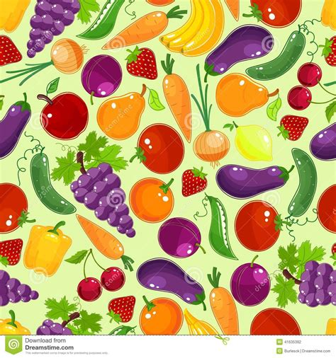 vegetables pattern wallpaper colorful fruit and vegetables seamless pattern stock