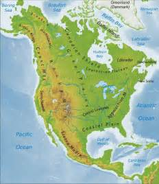 map of the us and canada physical features worldgeographygold united states and canada