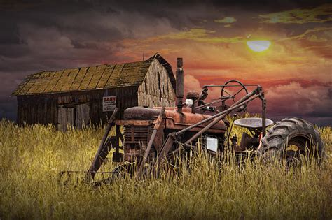 Joann Home Decor Fabric by Old Farmall Tractor With Barn For Sale Photograph By
