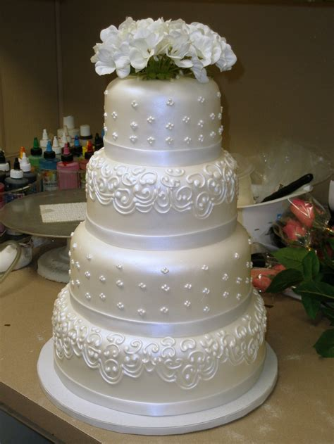 Design Cake For Wedding by Tier Custom White Pearl Fondant Classic Traditional