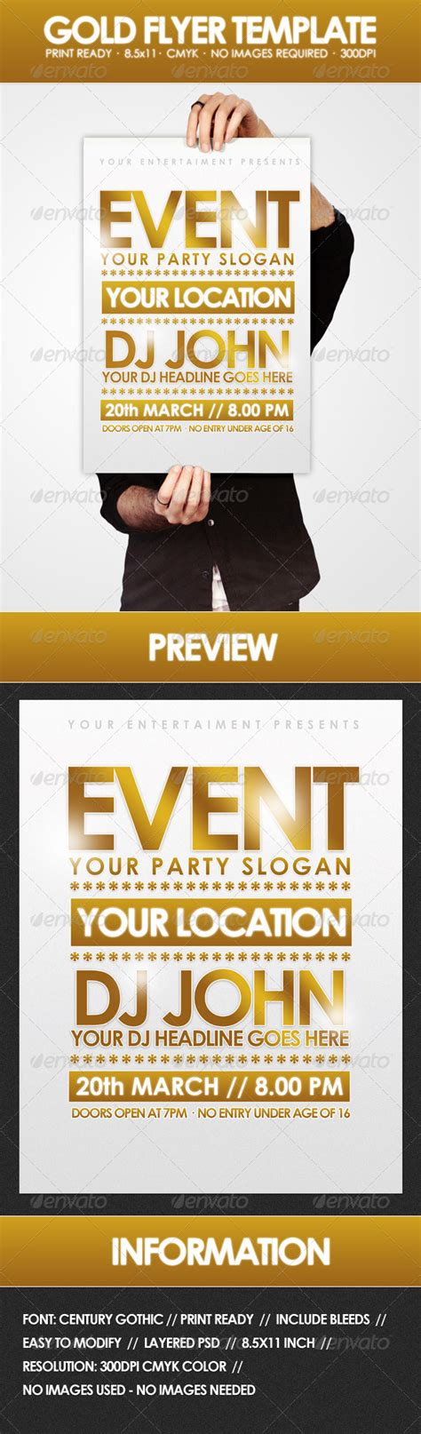 Black And Gold Flyer Template 187 Tinkytyler Org Stock Photos Graphics Gold Flyer Template