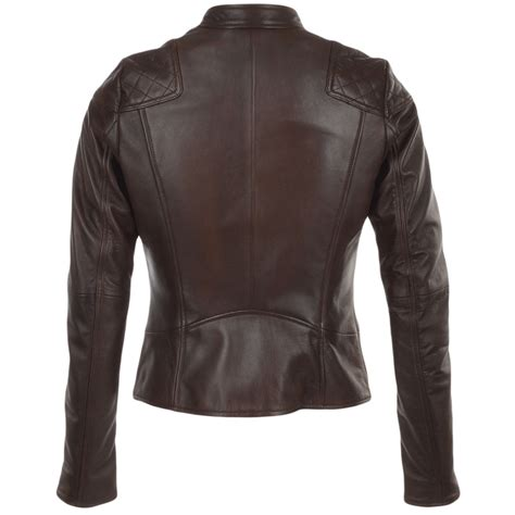 ladies brown biker womens leather biker jacket brown kasmira