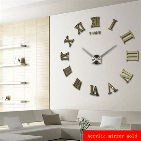 Living Room Wall Clocks by Home Decoration Meters Large Numerals Affixed Mirror Fashion Personality Diy Creative
