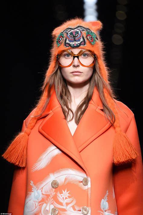 Milan Fashion Week Gucci Roberto Cavalli by Roberto Cavalli And Gucci Models Walk The Runway In 70s