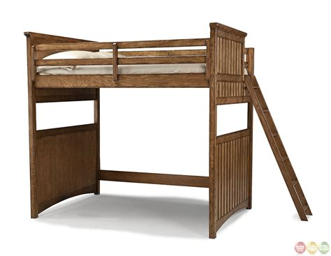 lofted bed frame timber lodge country open loft frame full youth bed