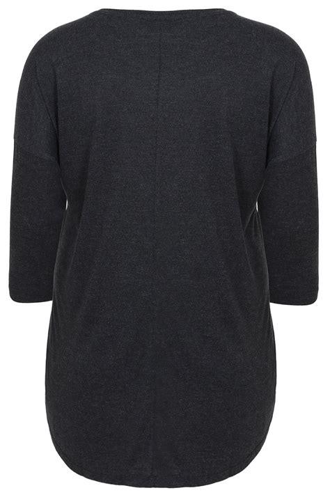 3 4 Sleeve Panel Top grey 3 4 sleeve drop shoulder top with floral panel plus
