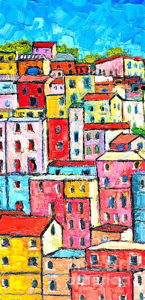colorful houses painting manarola colorful houses painting detail by edulescu