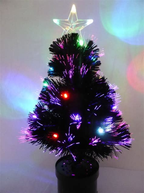 60cm black fibre optic christmas tree with multi coloured