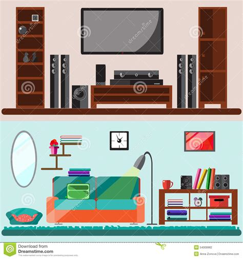 home interior vector home furniture vector flat illustration stock vector image 54009982