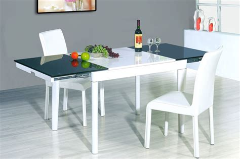 contemporary kitchen dinette sets extendable wood and frosted glass top leather modern