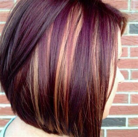 highlight color hair cut with purple and highlights