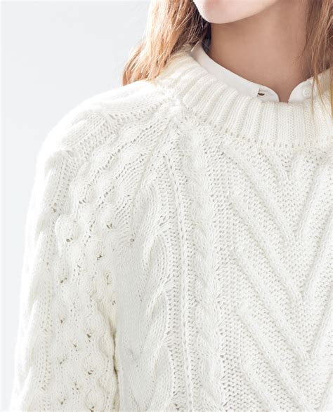 white knit sweater zara cable knit sweater with opening in white lyst