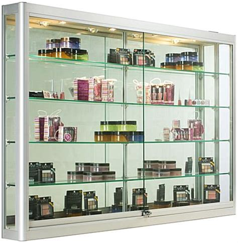 wall displays silver wall mounting cabinet 5 foot wide glass display