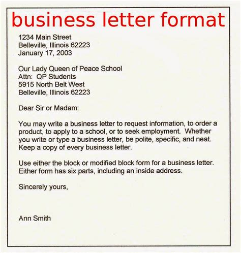 sle of formal letter heading business letter format sles business letters