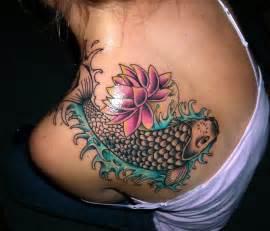Shoulder Lotus Koi Fish N Lotus On Back Of Shoulder Tattoobite