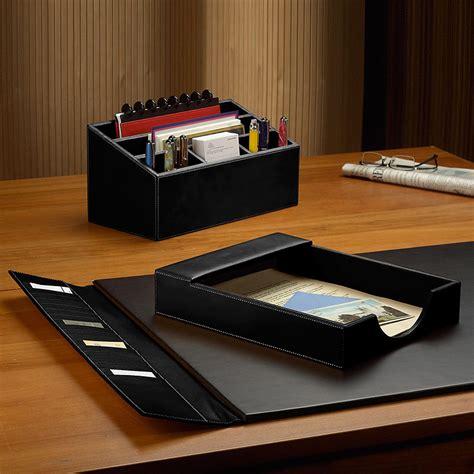 morgan desk set  pieces leather desk set desk accessories desk organizers levenger