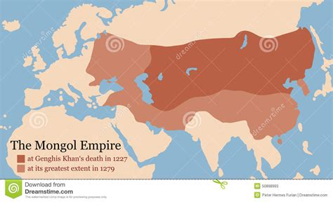 genghis khan otomano mongol empire conquest map stock vector image 50898993