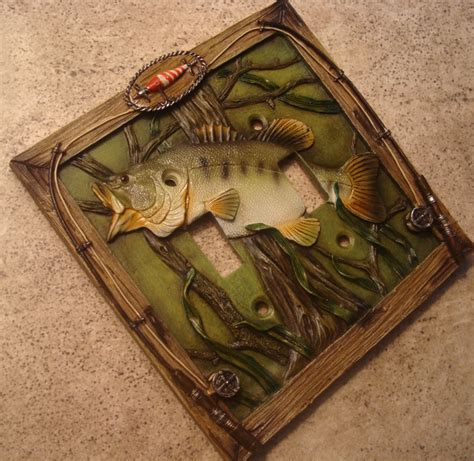 bass fishing home decor bass fishing lure double toggle light switch plate