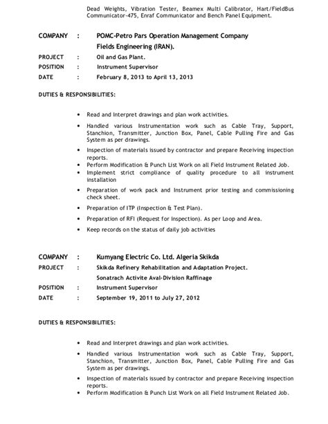 instrumentation engineer cover letter instrumentation engineer cover letter sle