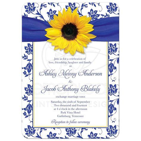 Wedding Invitation Background Yellow by Wedding Invitation Sunflower Damask Royal Blue Yellow