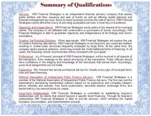 summary of qualifications of wm financial strategies