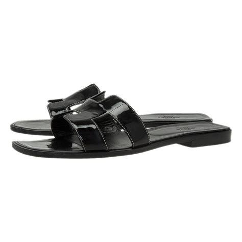 Sandal Flat Hermes1711 hermes black leather oran flat sandals size 40 5 buy sell lc