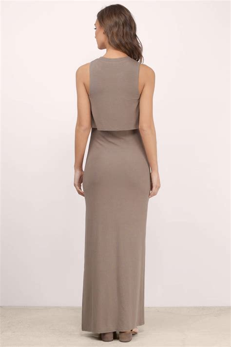taupe color dress taupe maxi dress brown dress high neck dress 68 00