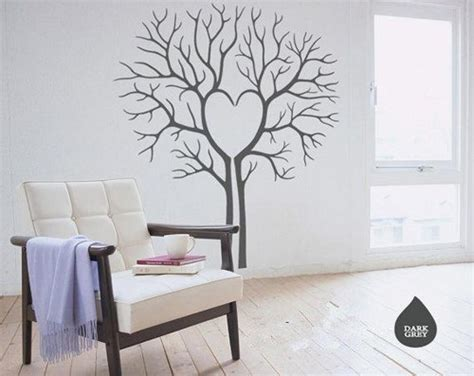 tree wall decals for living room heart love twin tree without leaf leaves house home art