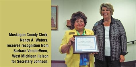 Muskegon County Records Of State Ruth Johnson Recognizes Muskegon County Clerk For Improving Access