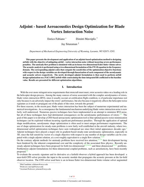1 an empirical approach for optimization of acoustic adjoint based aeroacoustic design optimization for blade