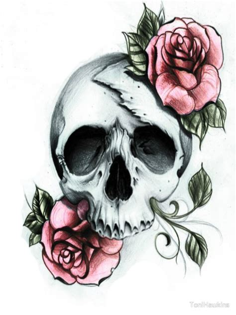 awesome flowery crown u0026 skull quot skull and roses quot by tonihawkins redbubble