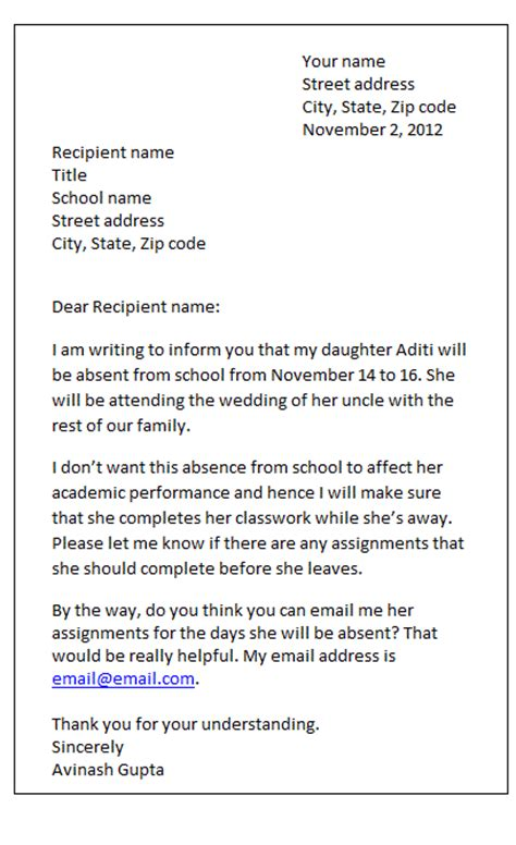 exle of formal letter of absence from school sle letter leave of absence from school