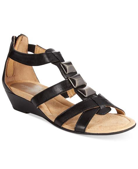 easy spirit maralyn wedge sandals in black lyst