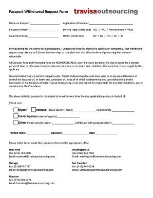Withdrawal Letter Of Passport passport withdrawal form fill printable fillable blank pdffiller