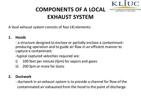 Local Exhaust Ventilation System Components Class Notes Topic 5