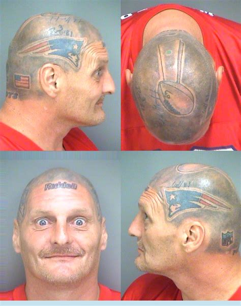 fan with tom brady helmet tattooed on his head is jailed