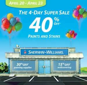 sherwin williams spring paint sale april 20 23 2012 a