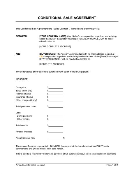 Credit Agreement Sle Philippines Conditional Sale Agreement Template Sle Form Biztree
