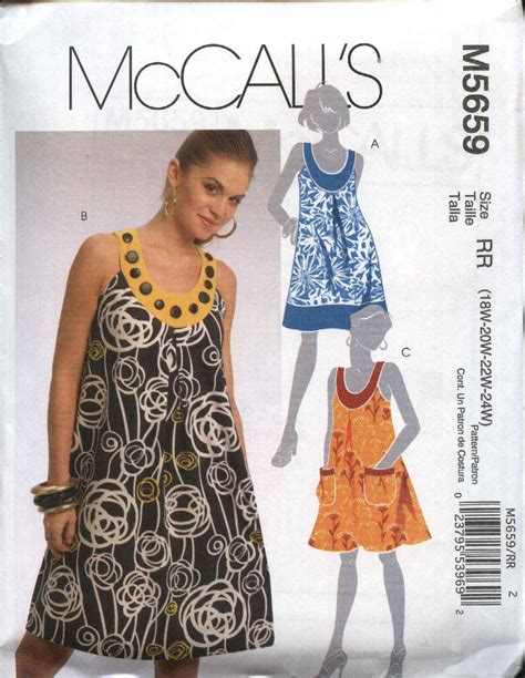 clothes pattern store mccall s sewing pattern 5659 womans plus size 18w 24w