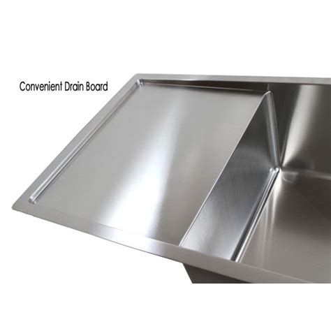 Kitchen Sinks With Drain Boards 36 Inch Stainless Steel Undermount Single Bowl Kitchen Sink With Drain Board