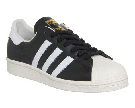 adidas superstar 80s black white chalk leather unisex sports