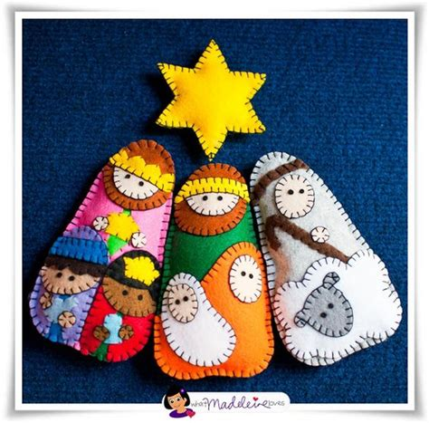 pattern felt nativity felt nativity ornaments she has the pattern for these on