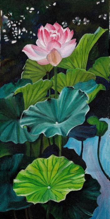 Lotus Leaf Painting Leaves Painting Paintings