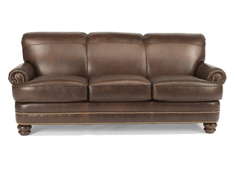 Flexsteel Living Room Leather Sofa With Nailhead Trim Leather Sofa Nailhead