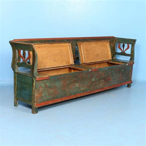 antique storage benches antique original painted long green storage bench circa