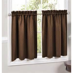 Insulated Kitchen Curtains Lorraine Home Fashions Tier 389 36 Chc Facets Brown Blackout Insulated Kitchen Curtains 36 X 55 Tier