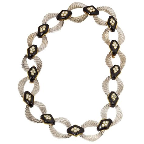 Onyx W Chain Link Necklace by Boucheron Onyx Gold Link Necklace For Sale
